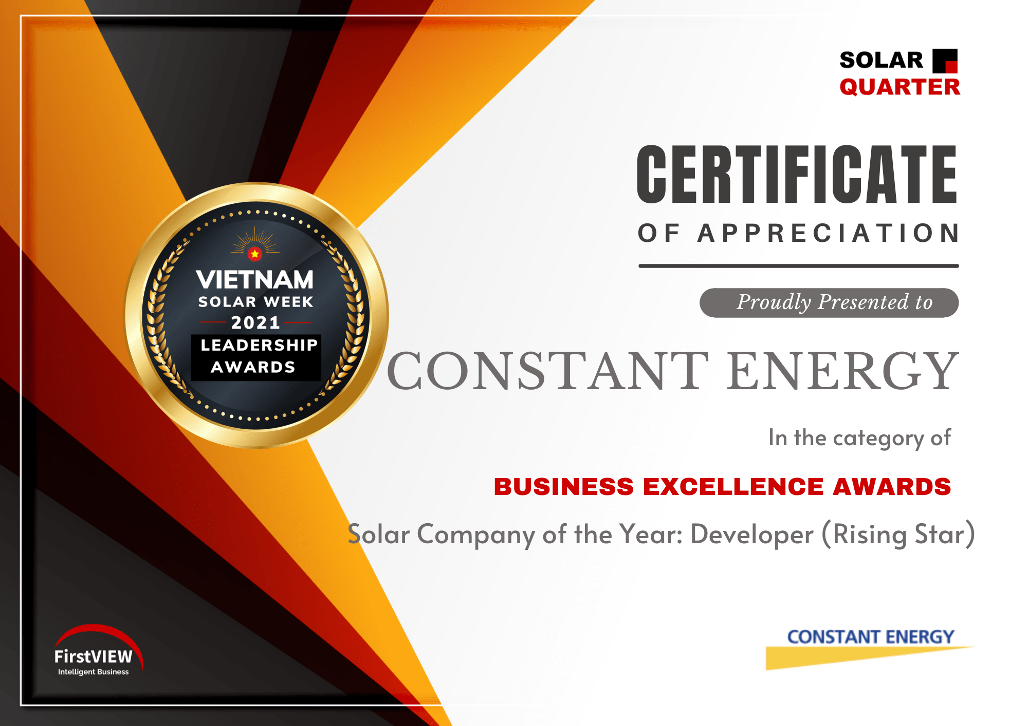 Business Excellence Award for Constant Energy:Solar Company of the Year Developer (Rising Star)