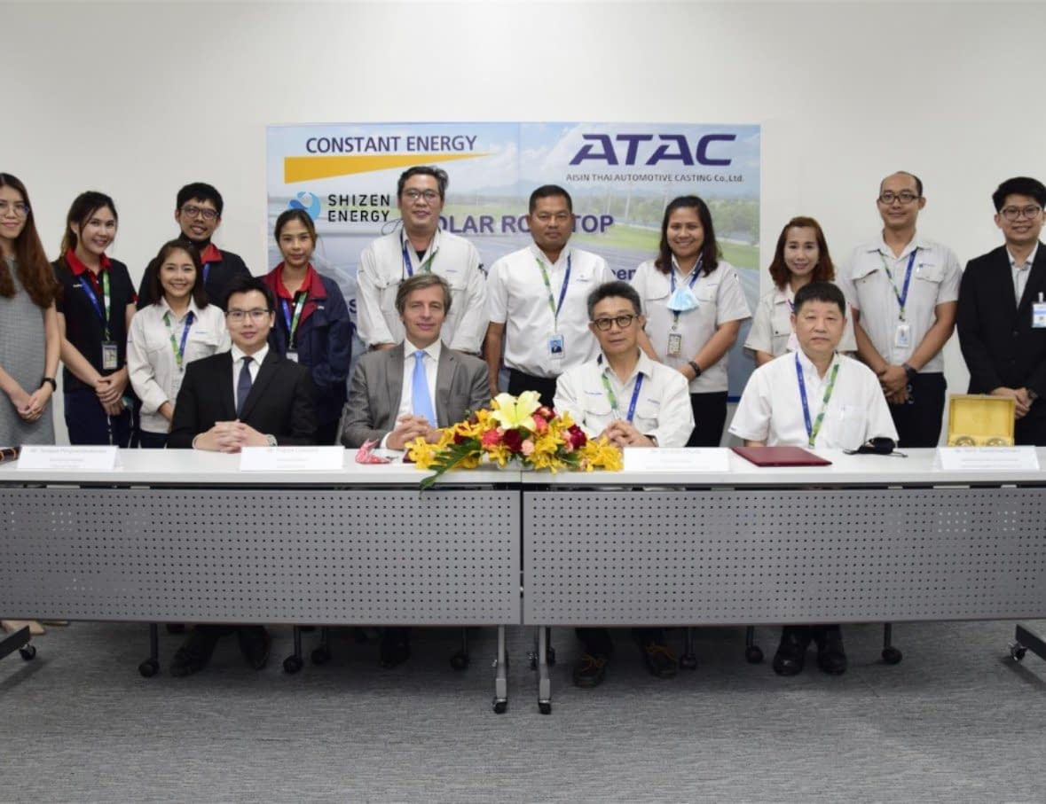 Aisin Thai Automotive Casting Co., Ltd. (Aisin Group) and Constant Energy / Shizen Energy execute a Corporate PPA for a first solar rooftop in Thailand