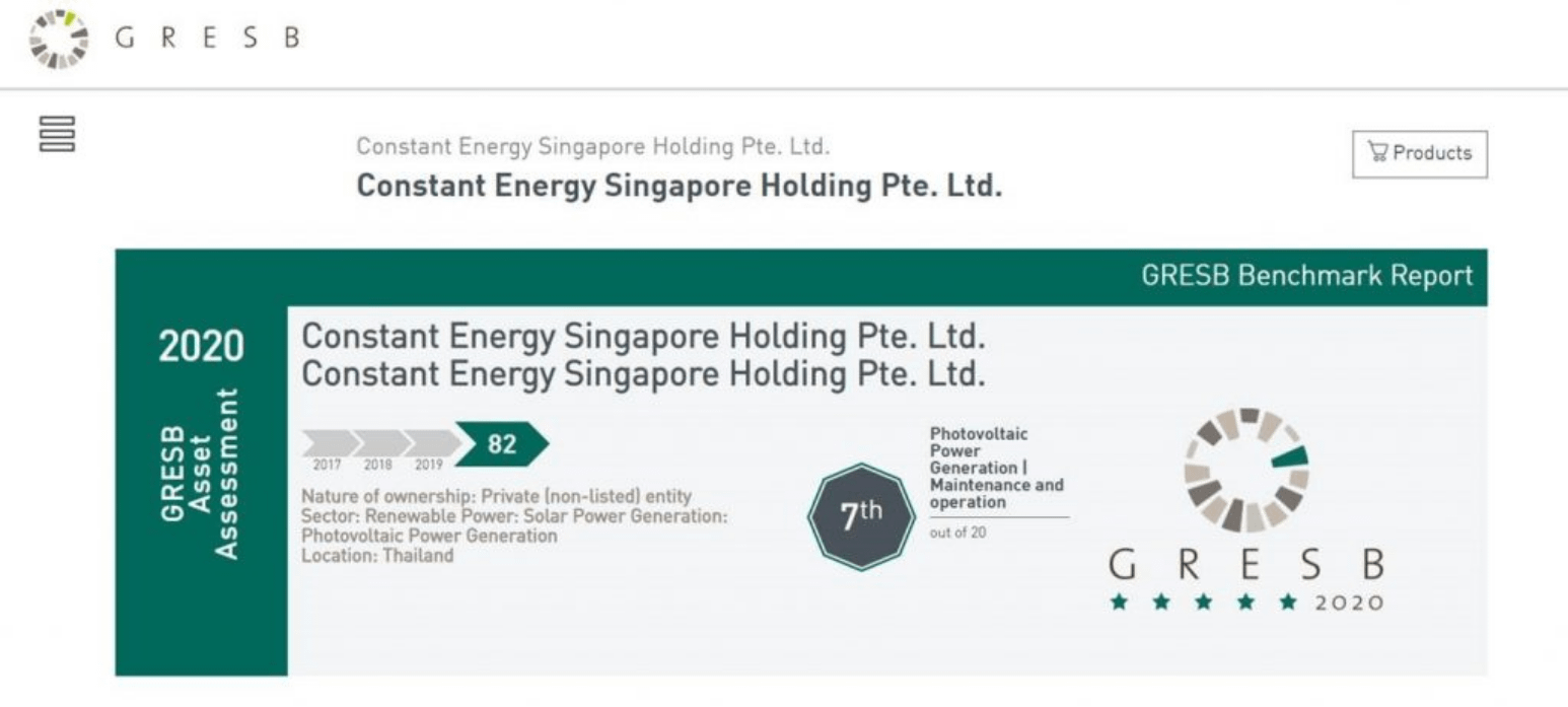 Asia-based Solar IPP Constant Energy Achieving Highest 5-Star Rating by GRESB in its Infrastructure Sustainability Assessment
