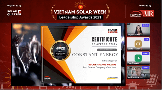 Solar Finance Award for Constant Energy: Best Finance Company of the Year